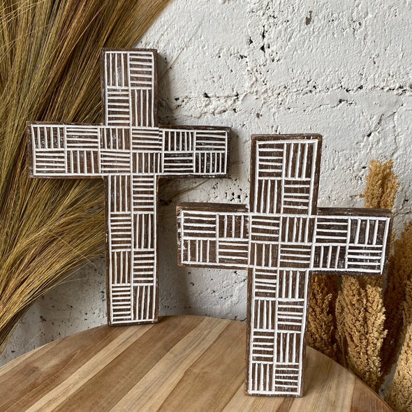 WOODEN CROSS ON THE WALL BLACKWASH
