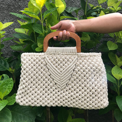 Macrame Bag wooden Handle B