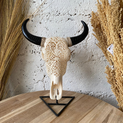 RESIN BUFFALO SMALL WITH METAL STAND A-1