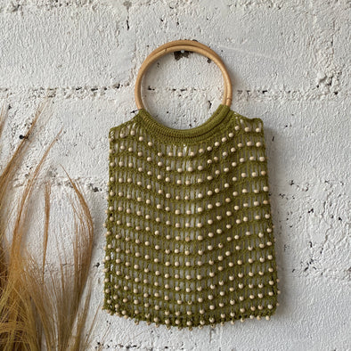 CROCHET BEADED BAG RATTAN HANDLE A-1