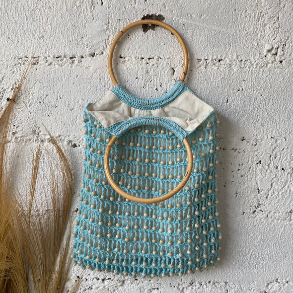 CROCHET BEADED BAG RATTAN HANDLE A-3