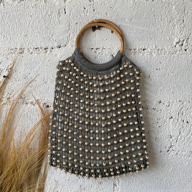 CROCHET BEADED BAG RATTAN HANDLE A-4