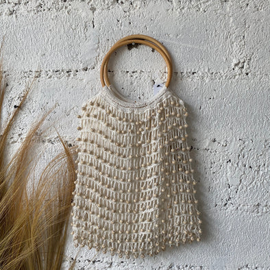 CROCHET BEADED BAG RATTAN HANDLE A-5