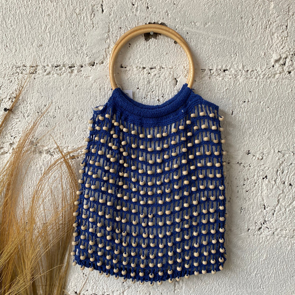 CROCHET BEADED BAG RATTAN HANDLE A-6
