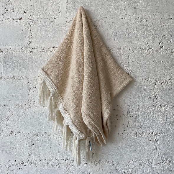 Handwoven Blanket with Cream Crochet