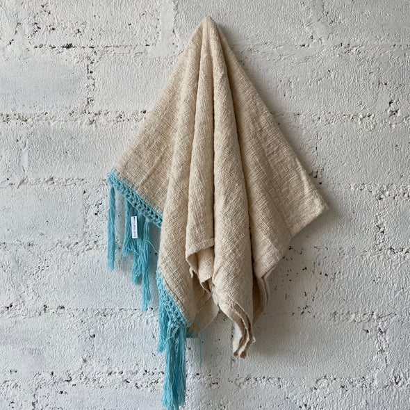 Handwoven Blanket with Soft Blue Crochet