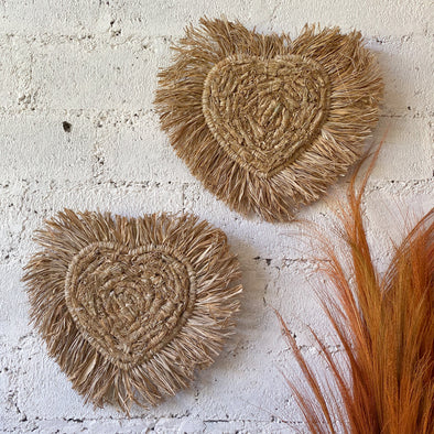 Hear Raffia Wall Decor