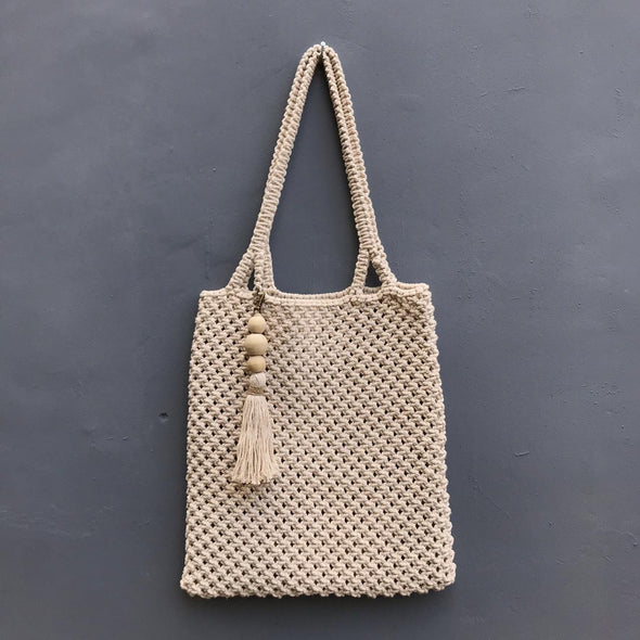 Tote Macrame Bag With Tassel Natural