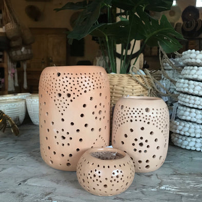 Candle Holder Terracotta Natural
