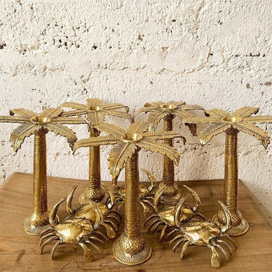 PALM BRASS CANDLE HOLDER