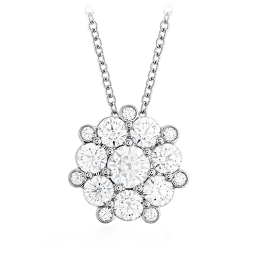Certified Cluster Diamond 14K White Gold Pendant.VVS Diamonds - G Color, - ZeeDiamonds