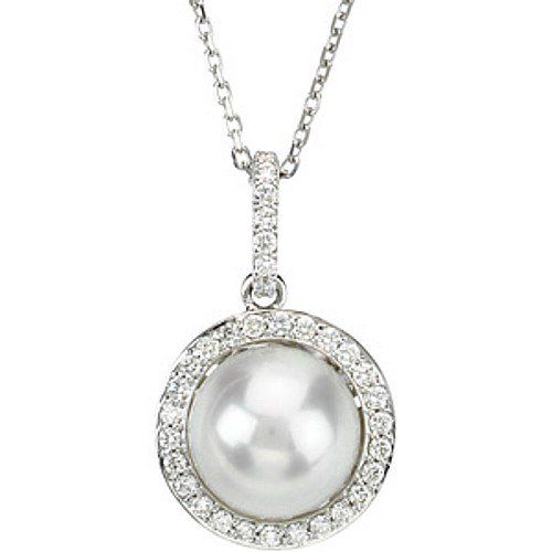 Pearl Pendant with Diamonds in 925 Silver/14 K Gold. VVS1;G Color Diamonds.Certified - ZeeDiamonds