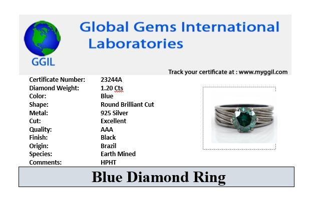 1-2 CT BLUE DIAMOND SOLITAIRE RING-GREAT LUSTER & BRILLIANCE! - ZeeDiamonds