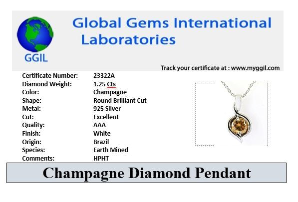 Stunning 1.25 Ct 100% Certified Champagne Diamond Pendant For Women's - ZeeDiamonds