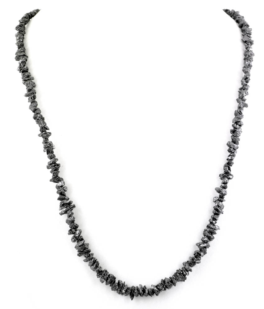 28 inches 5mm-6mm Rough Black Diamond Unisex Necklace - ZeeDiamonds