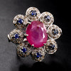 Ruby, and Blue Sapphire Gemstone Ring With Rose Cut Diamonds - ZeeDiamonds