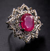 Madagascar Ruby Ring in Sterling Silver With Rose Cut Diamonds - ZeeDiamonds