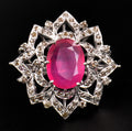 Designer Ruby Ring in Sterling Silver With Rose Cut Diamonds - ZeeDiamonds