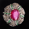 Madagascar Ruby & Emerald Gemstone Ring With Rose Cut Diamonds - ZeeDiamonds