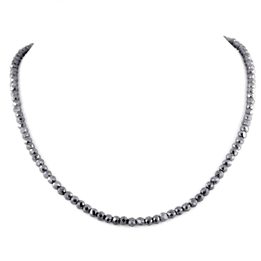 6 mm 100% Certified Round Cut Black Diamond Beads Necklace In 925 Silver - ZeeDiamonds