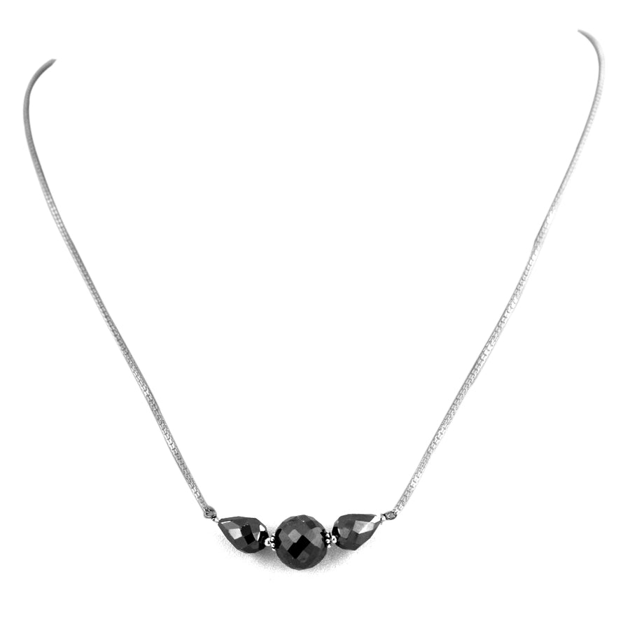 Elegant Black Diamond Sterling Silver Chain Necklace - ZeeDiamonds