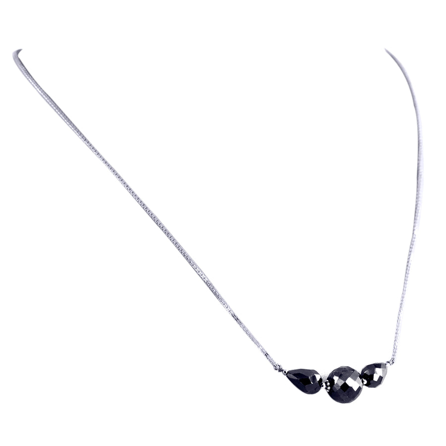 Elegant Black Diamond Sterling Silver Chain Necklace