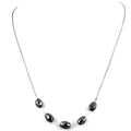 Elegant Drum Shape Black Diamond Sterling Silver Chain Necklace - ZeeDiamonds