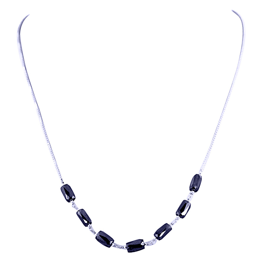 AAA Quality Pipe Shape Black Diamond Sterling Silver Chain Necklace