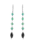 Long Drum Shape Black Diamond Dangler Earrings with Blue Diamond Beads - ZeeDiamonds