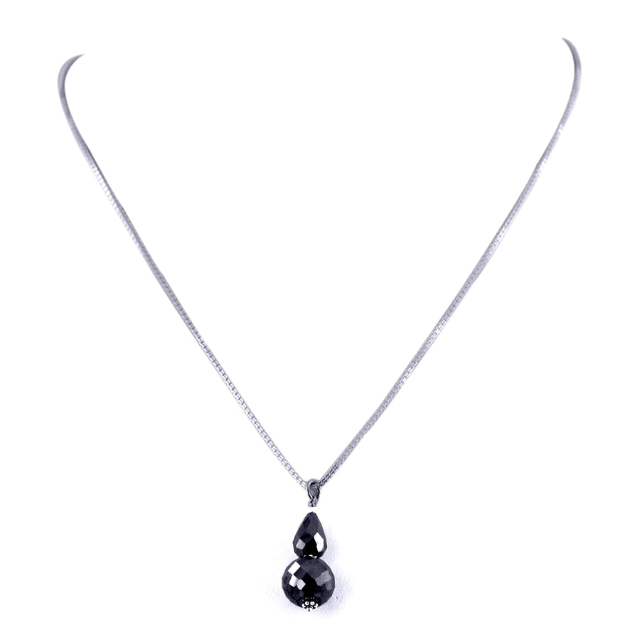 AAA Quality 10mm Round Black Diamond Beads Necklace.AAA. - ZeeDiamonds