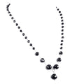4-8 mm Black Diamond Round Faceted Beads Necklace in Sterling Silver - ZeeDiamonds