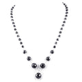 4mm-8mm Black Diamond Round Faceted Beads Necklace in Sterling Silver - ZeeDiamonds