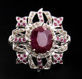African Ruby Gemstone Statement Ring With Rose Cut Diamonds - ZeeDiamonds