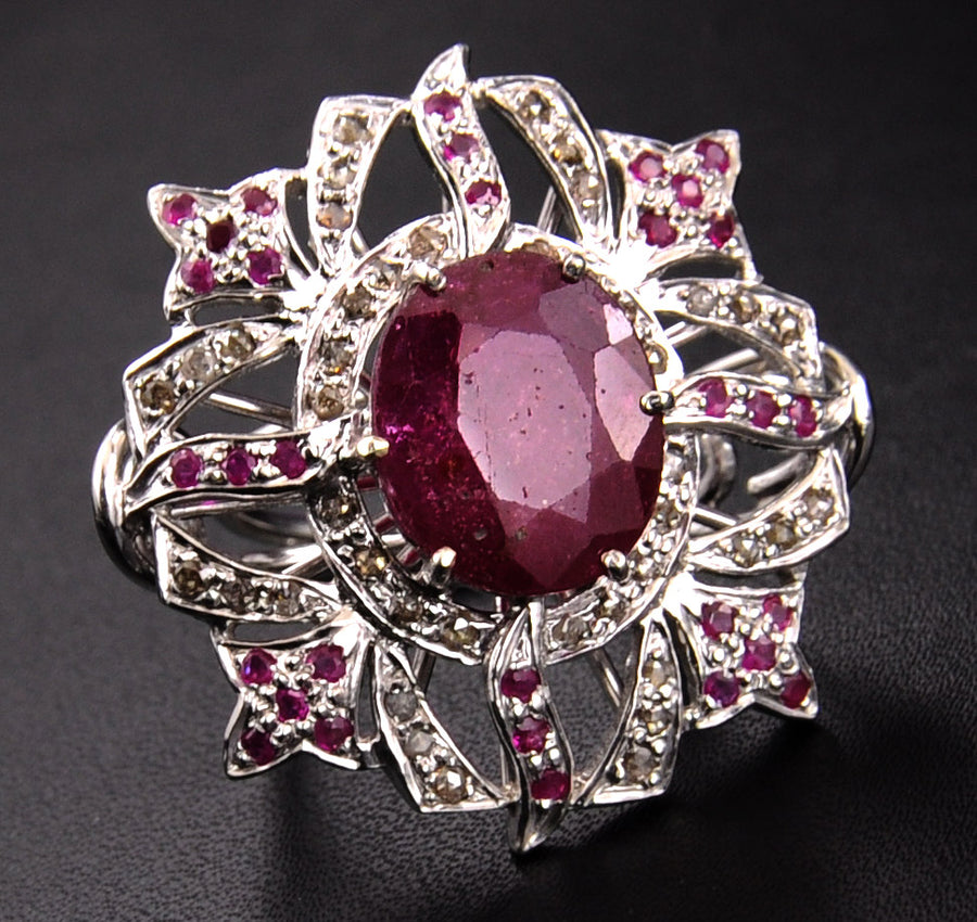 African Ruby Gemstone Statement Ring With Rose Cut Diamonds