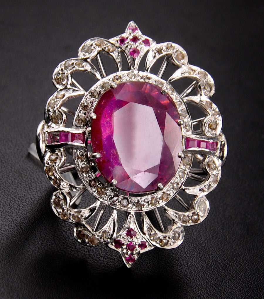 10 Ct Madagascar Ruby Gemstone Ring With Rose Cut Diamonds - ZeeDiamonds