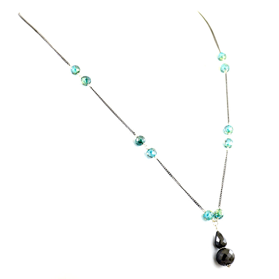 Blue & Black Diamond Beads Necklace in 925 Silver Chain. - ZeeDiamonds