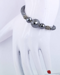 4 mm Black Diamond Beads With Silver (Goli) Designer Bracelet - ZeeDiamonds