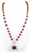 54 beads Rudraksha & Ruby Necklace with Guru Bead - ZeeDiamonds
