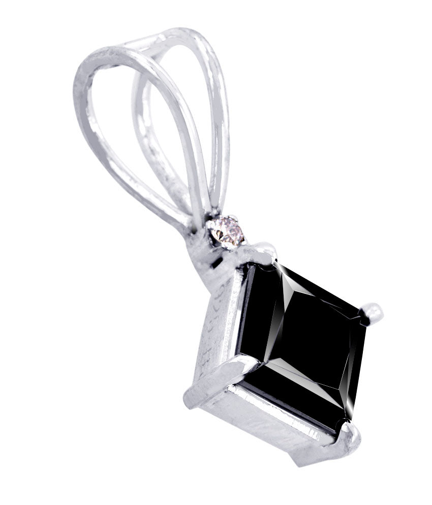 2 ct Black Diamond Solitaire Pendent in 925 Silver/14K Gold - AAA.Certified - ZeeDiamonds