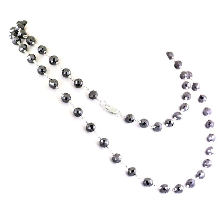6mm Black Diamond Long Chain Necklace in Sterling Silver-18-36 inches - ZeeDiamonds