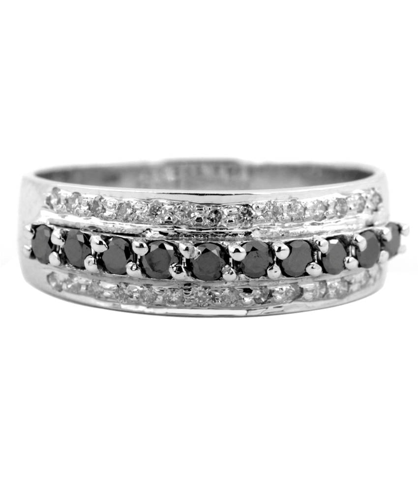 White and Black Diamond Engagement Band Ring in 925 Silver, Unisex Collection - ZeeDiamonds