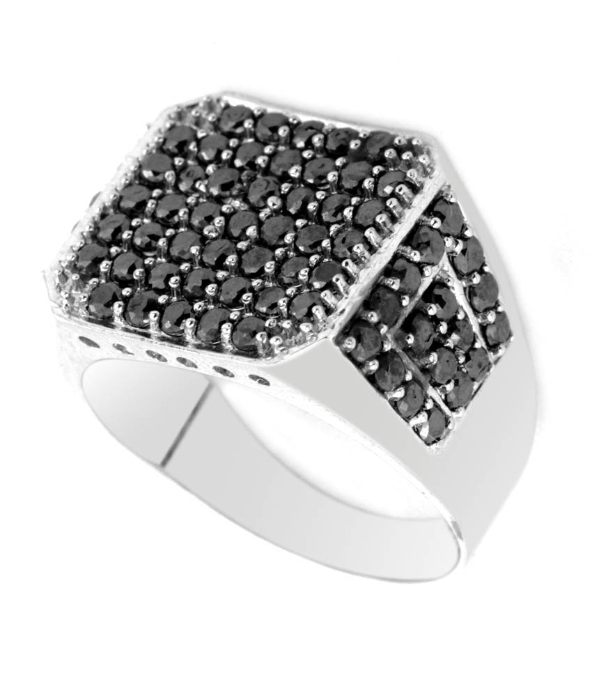 0.10 ct Each AAA Certified Stunning Black Diamond Men's Ring in Heavy Design - ZeeDiamonds