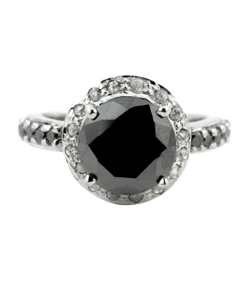 1.50 Ct Designer Black Diamond Solitaire Ring with Accents, Great Ideal For Gift - ZeeDiamonds