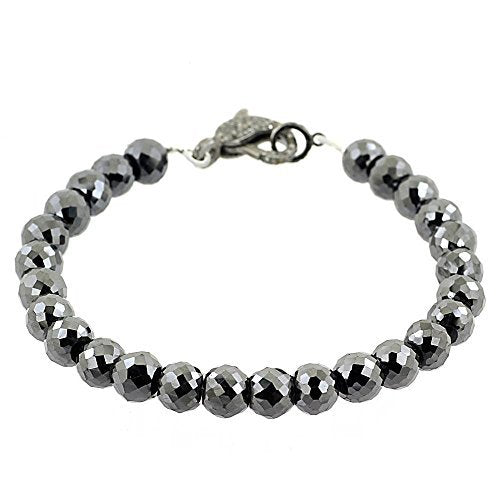 5mm Black Diamond Faceted Beads Bracelet With Pave Diamond Fish Lock - ZeeDiamonds
