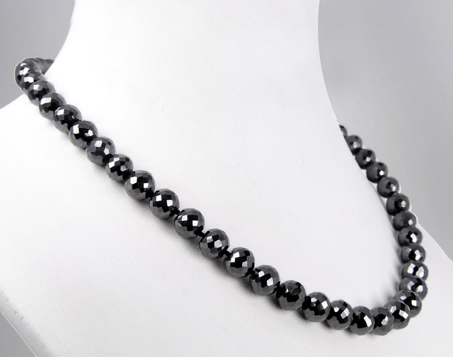 18inches, AAA Quality 8mm Certified Black Diamond Necklace With Customized Clasp - ZeeDiamonds
