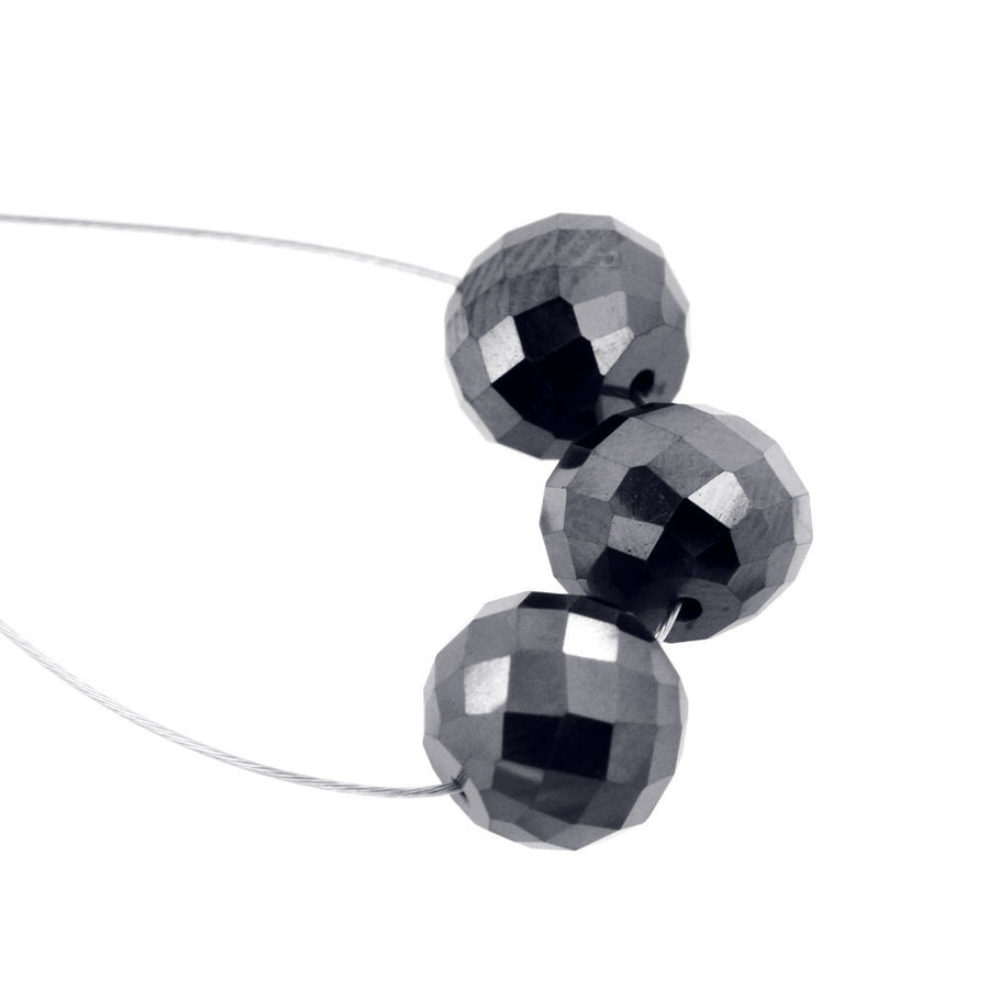 Black Diamond Beads-Certified. 3 pieces.11 carats.AAA.Excellent Cut and Shine. - ZeeDiamonds