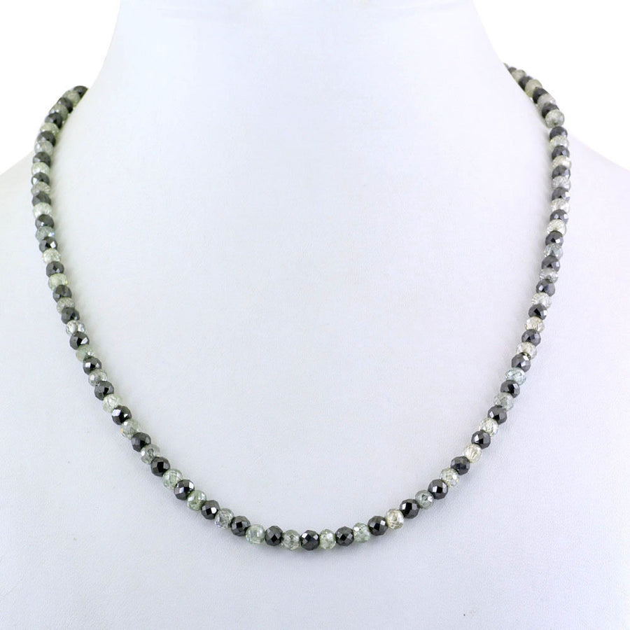 Black & White Diamonds Necklace-18 inches-Gold Clasp.AAA.Earth Mined. - ZeeDiamonds