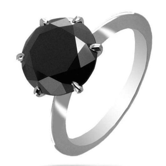 2.50 Ct AAA Quality Black Diamond Solitaire Wedding Ring- Great Luster - ZeeDiamonds
