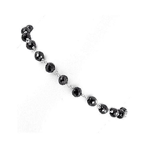 "Black Diamonds Bracelet - 18 cts.4 mm. 6-8"".Silver Clasp.CERTIFIED.AAA - ZeeDiamonds"