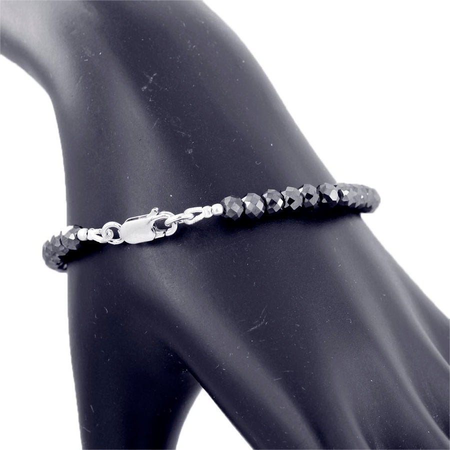 6 mm AAA Quality Certified Black Diamond Beads Bracelet In Sterling Silver - ZeeDiamonds